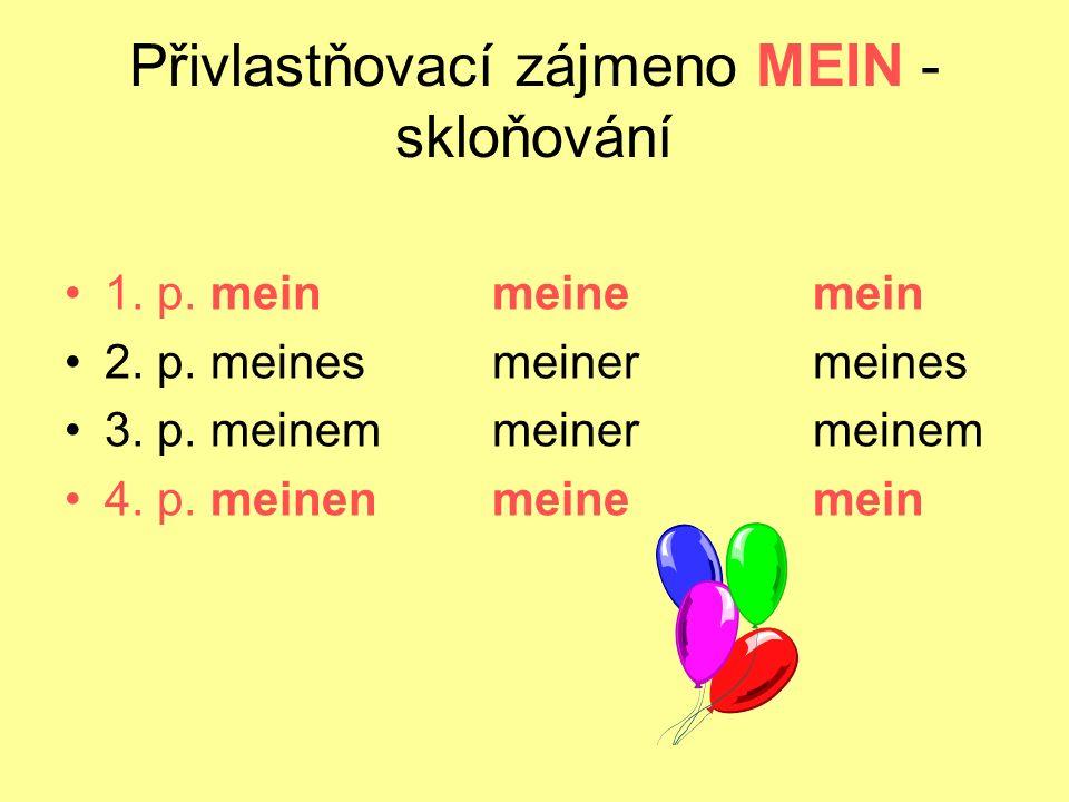 Přivlastňovací zájmeno MEIN - skloňování 1. p. meinmeinemein 2. p. meinesmeinermeines 3. p. meinemmeinermeinem 4. p. meinenmeinemein