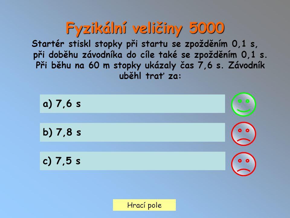 Hrací pole Fyzikální veličiny 5000 Startér stiskl stopky při startu se zpožděním 0,1 s, při doběhu závodníka do cíle také se zpožděním 0,1 s. Při běhu