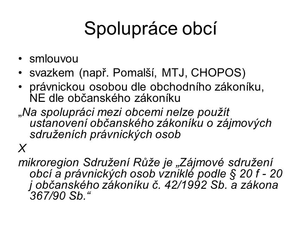 Spolupráce obcí smlouvou svazkem (např.