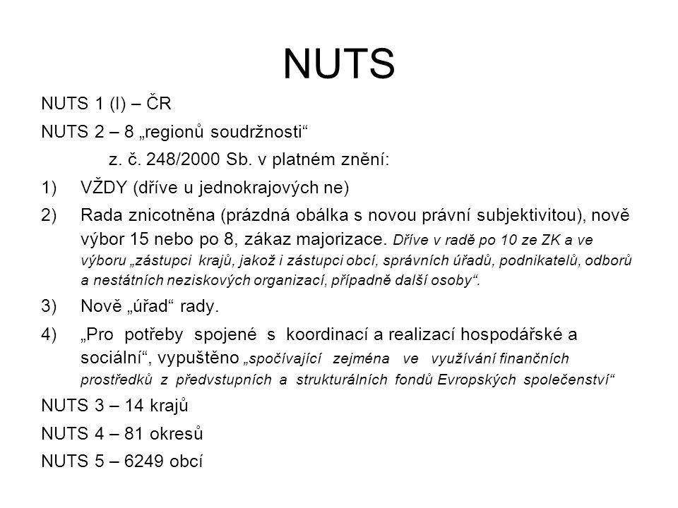 """NUTS NUTS 1 (I) – ČR NUTS 2 – 8 """"regionů soudržnosti z."""
