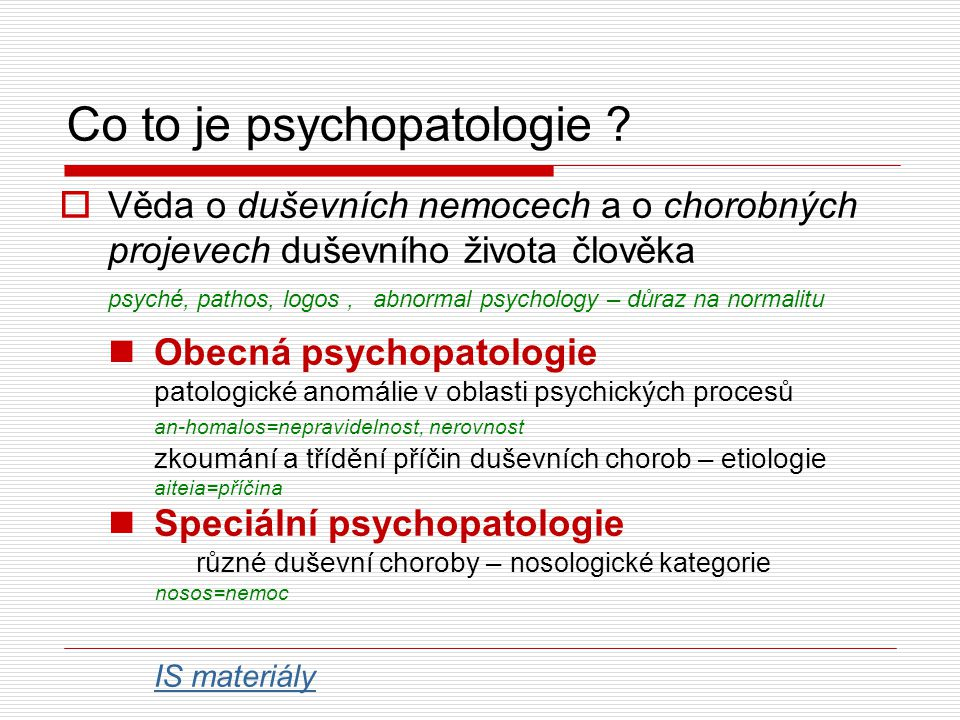 Co to je psychopatologie .