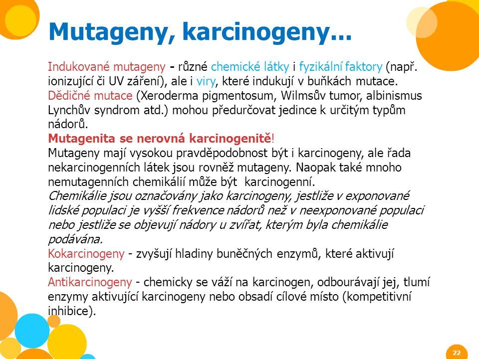 Mutageny, karcinogeny... Indukované mutageny - různé chemické látky i fyzikální faktory (např. ionizující či UV záření), ale i viry, které indukují v