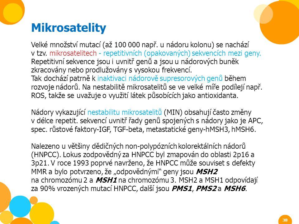 Mikrosatelity Velké množství mutací (až 100 000 např. u nádoru kolonu) se nachází v tzv. mikrosatelitech - repetitivních (opakovaných) sekvencích mezi