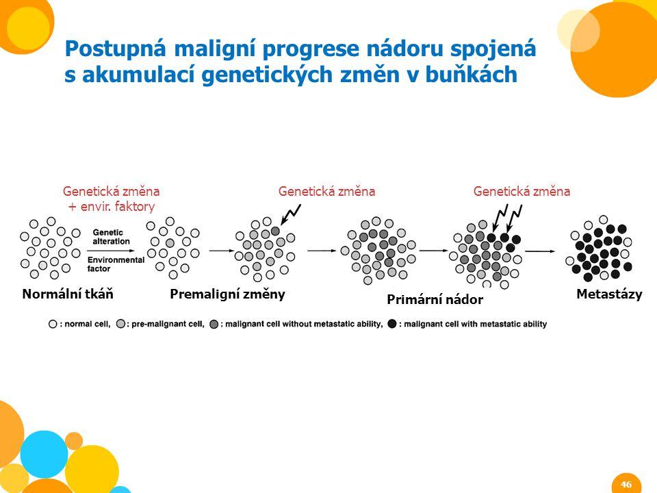 Postupná maligní progrese nádoru spojená s akumulací genetických změn v buňkách Normální tkáňPremaligní změny Primární nádor Metastázy Genetická změna