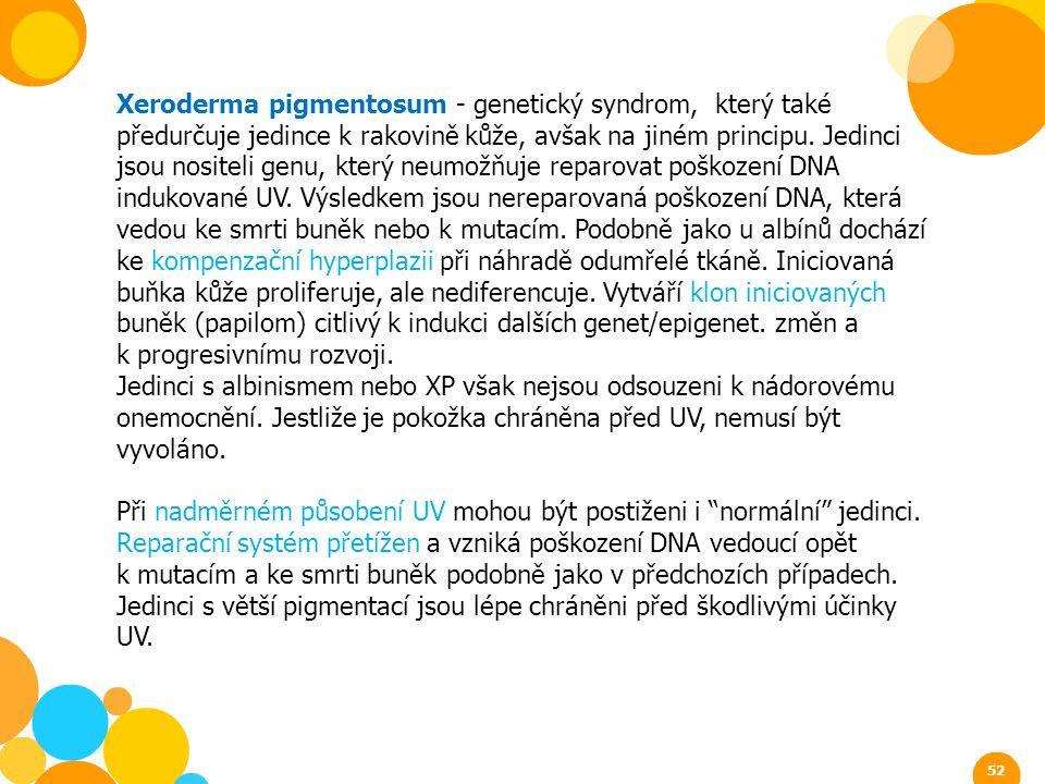 Xeroderma pigmentosum - genetický syndrom, který také předurčuje jedince k rakovině kůže, avšak na jiném principu. Jedinci jsou nositeli genu, který n