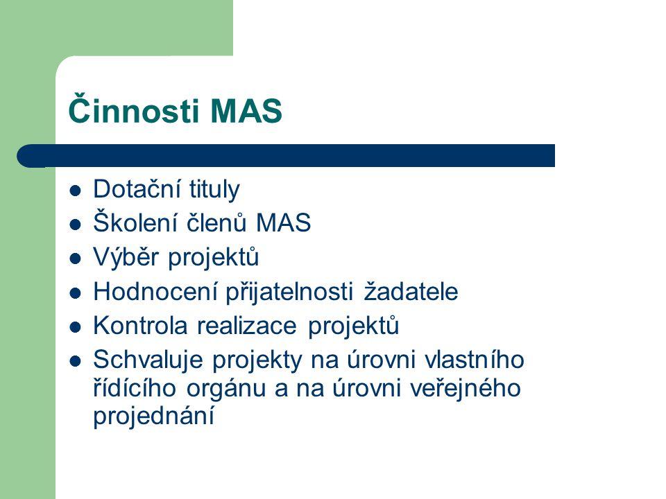 Činnosti MAS Dotační tituly Školení členů MAS Výběr projektů Hodnocení přijatelnosti žadatele Kontrola realizace projektů Schvaluje projekty na úrovni vlastního řídícího orgánu a na úrovni veřejného projednání