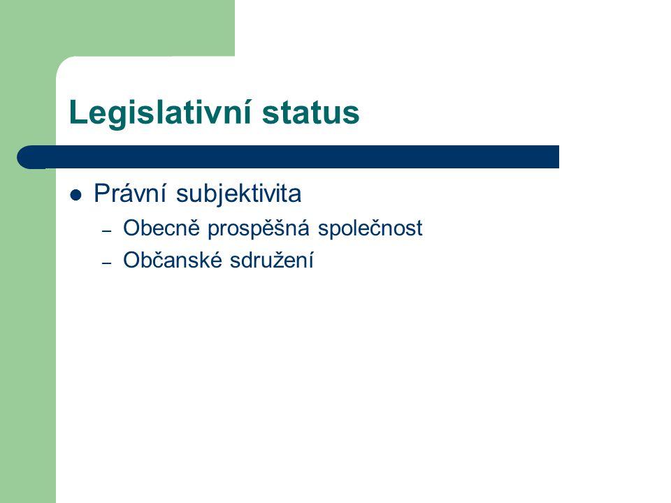 Legislativní status Právní subjektivita – Obecně prospěšná společnost – Občanské sdružení