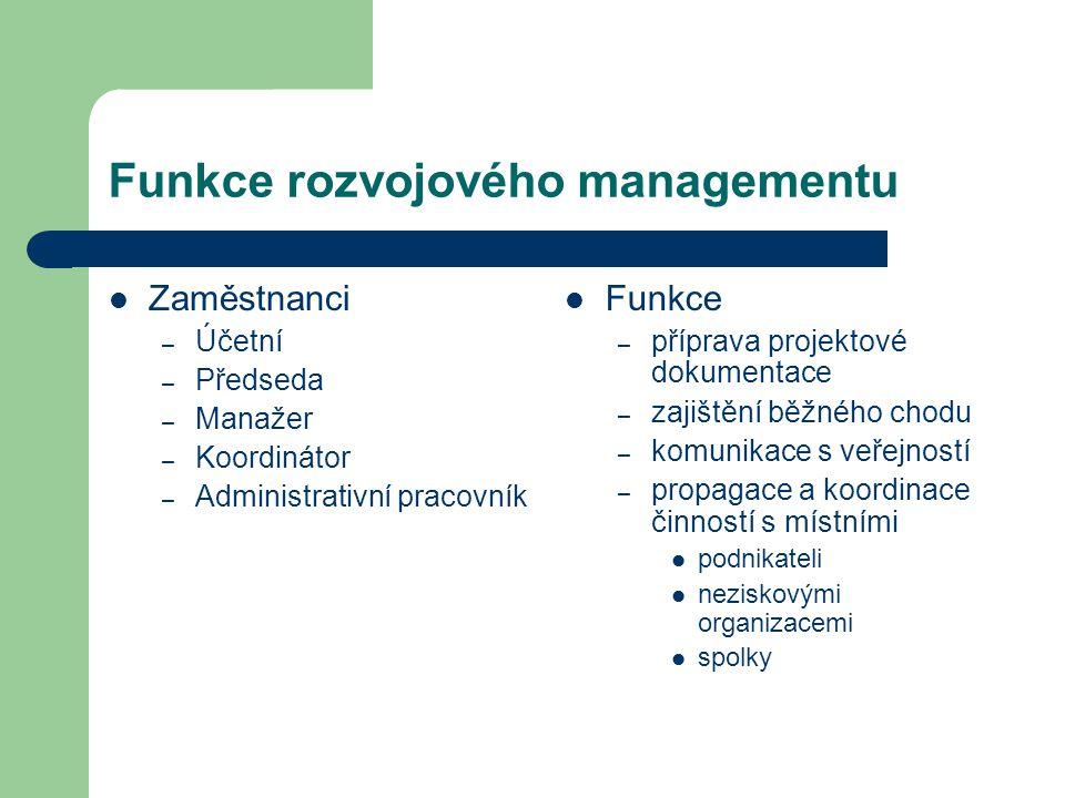 Funkce rozvojového managementu Zaměstnanci – Účetní – Předseda – Manažer – Koordinátor – Administrativní pracovník Funkce – příprava projektové dokume