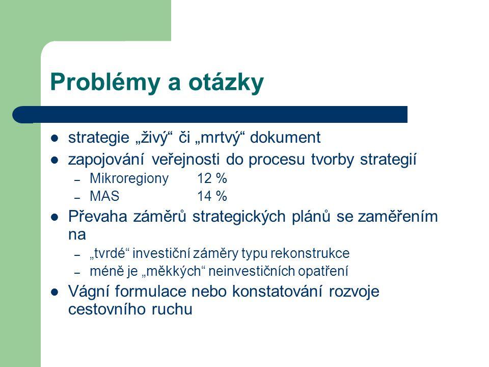 """Problémy a otázky strategie """"živý"""" či """"mrtvý"""" dokument zapojování veřejnosti do procesu tvorby strategií – Mikroregiony12 % – MAS 14 % Převaha záměrů"""