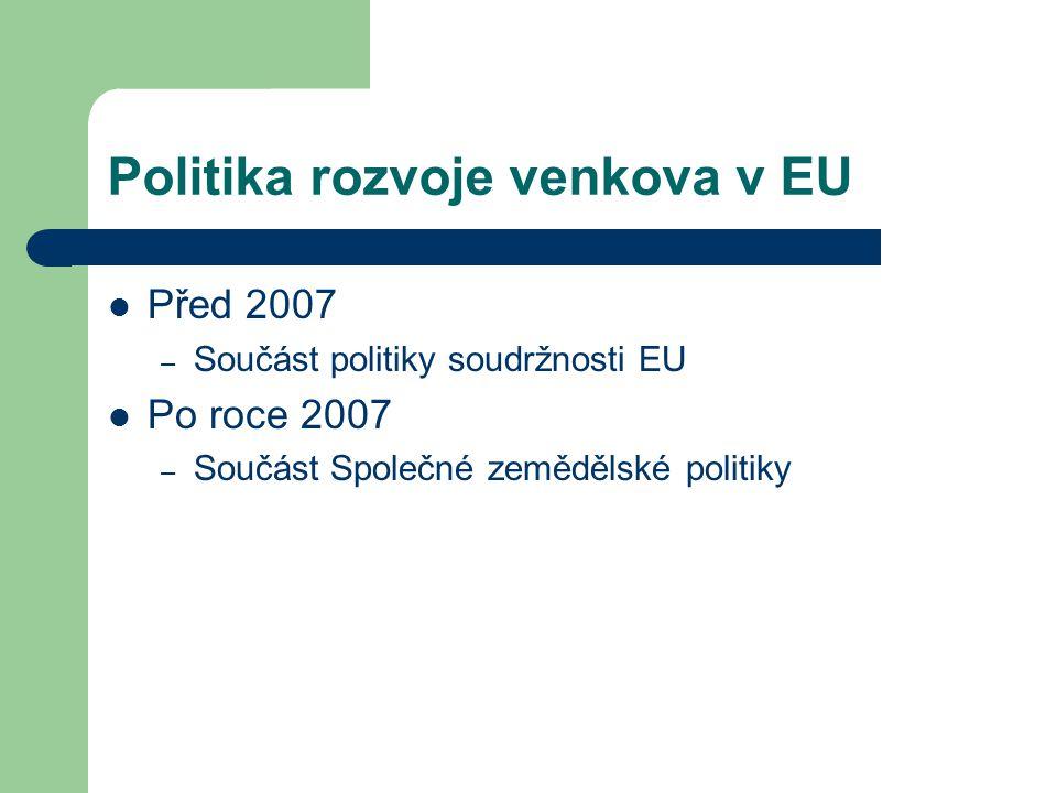 Politika rozvoje venkova v EU Před 2007 – Součást politiky soudržnosti EU Po roce 2007 – Součást Společné zemědělské politiky