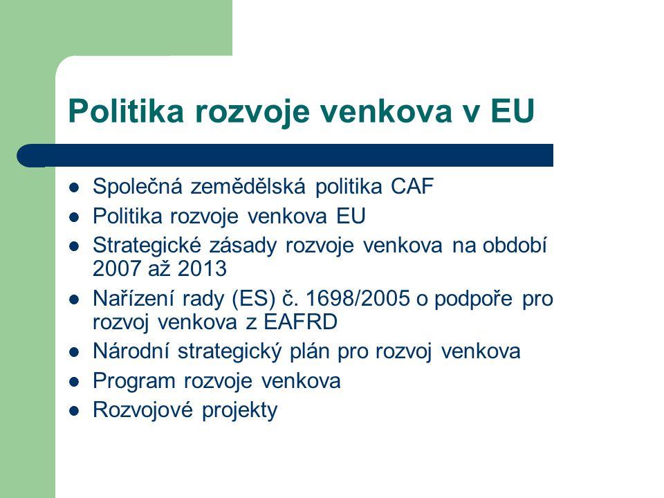 Politika rozvoje venkova v EU Společná zemědělská politika CAF Politika rozvoje venkova EU Strategické zásady rozvoje venkova na období 2007 až 2013 Nařízení rady (ES) č.