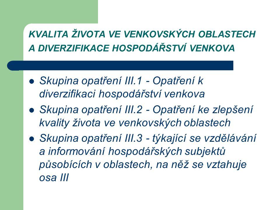 KVALITA ŽIVOTA VE VENKOVSKÝCH OBLASTECH A DIVERZIFIKACE HOSPODÁŘSTVÍ VENKOVA Skupina opatření III.1 - Opatření k diverzifikaci hospodářství venkova Sk