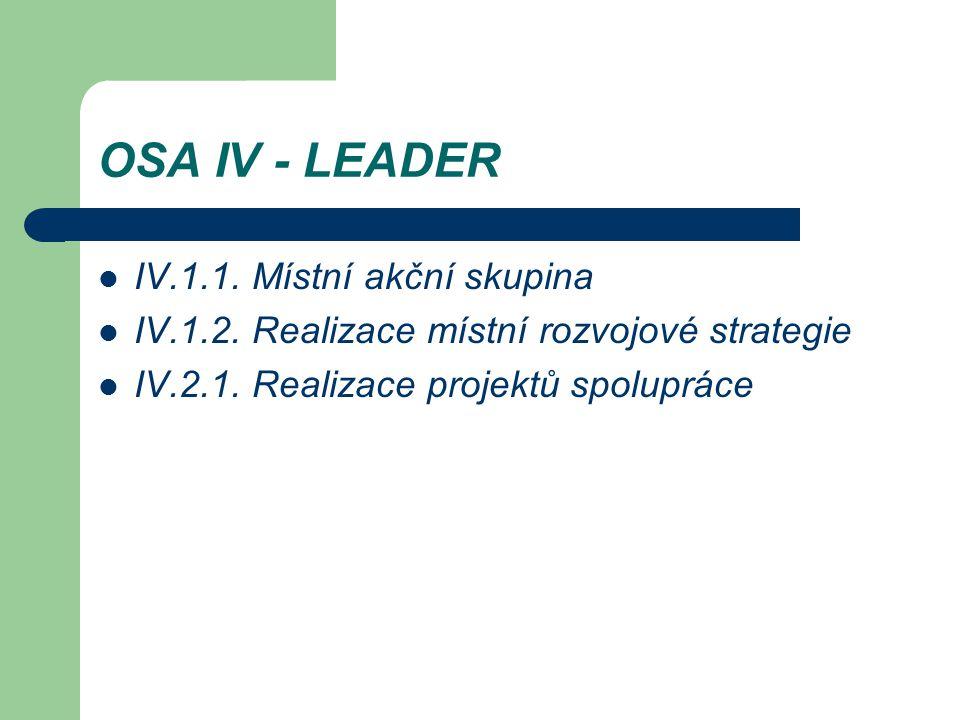 OSA IV - LEADER IV.1.1. Místní akční skupina IV.1.2. Realizace místní rozvojové strategie IV.2.1. Realizace projektů spolupráce