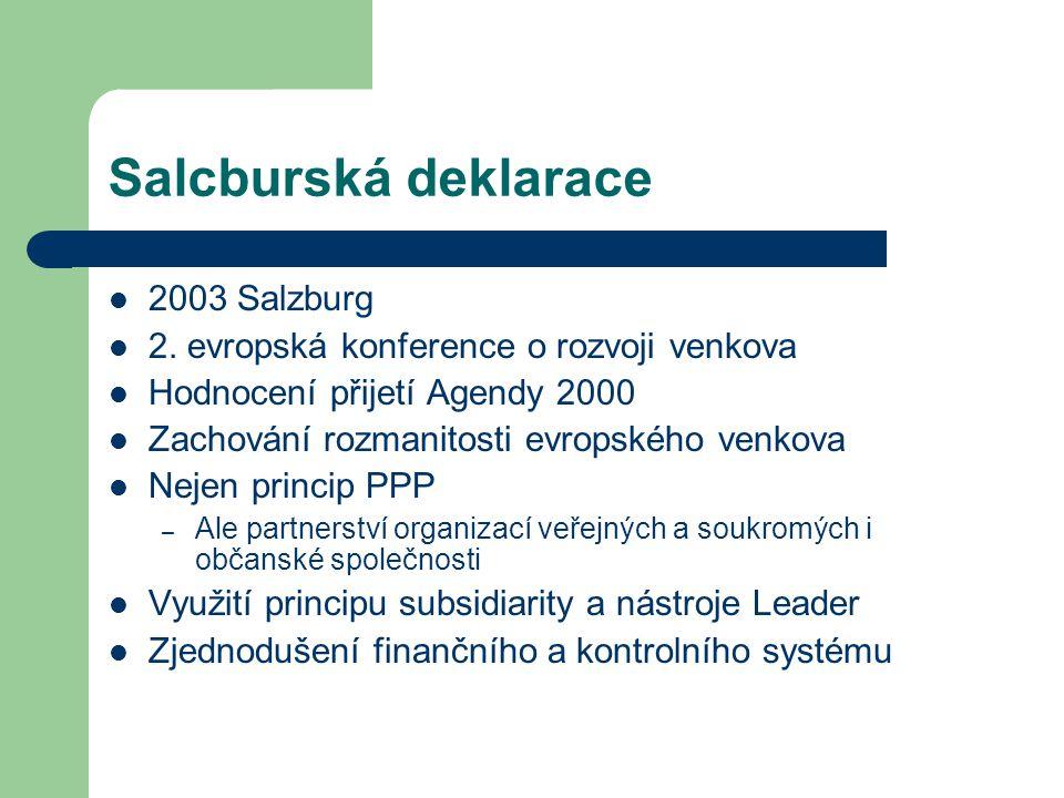 Salcburská deklarace 2003 Salzburg 2. evropská konference o rozvoji venkova Hodnocení přijetí Agendy 2000 Zachování rozmanitosti evropského venkova Ne