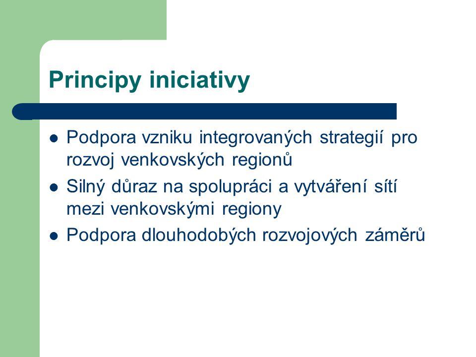 Principy iniciativy Podpora vzniku integrovaných strategií pro rozvoj venkovských regionů Silný důraz na spolupráci a vytváření sítí mezi venkovskými regiony Podpora dlouhodobých rozvojových záměrů