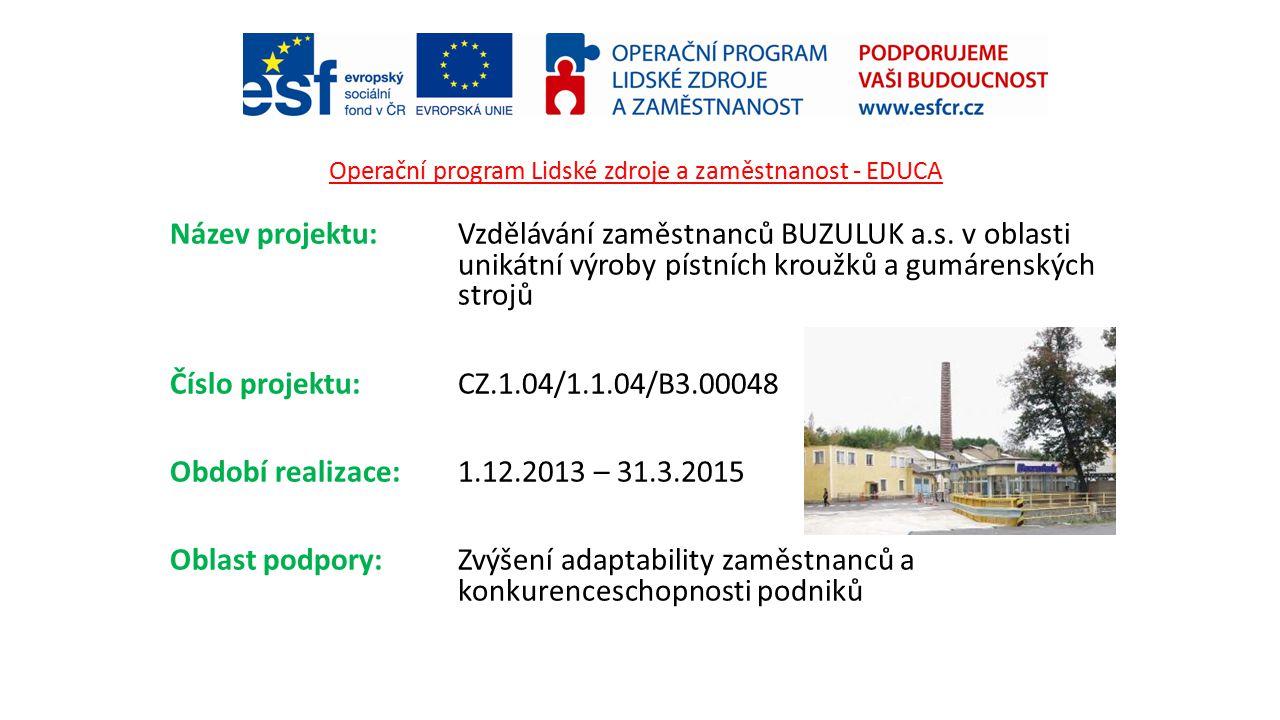 Operační program Lidské zdroje a zaměstnanost - EDUCA Název projektu: Vzdělávání zaměstnanců BUZULUK a.s. v oblasti unikátní výroby pístních kroužků a