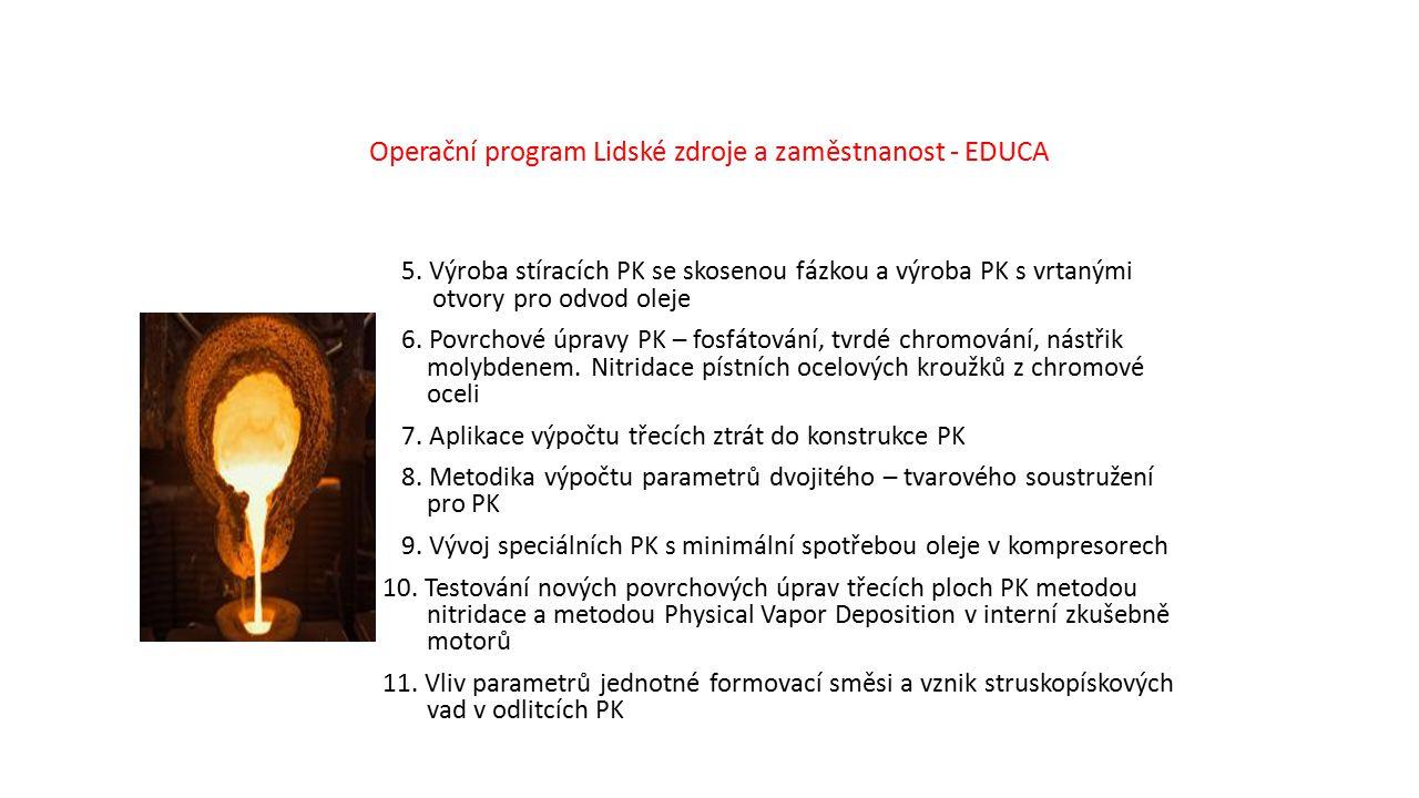 Operační program Lidské zdroje a zaměstnanost - EDUCA 5. Výroba stíracích PK se skosenou fázkou a výroba PK s vrtanými otvory pro odvod oleje 6. Povrc