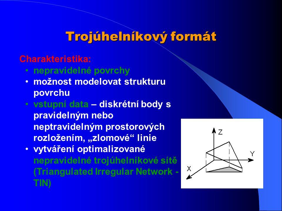 Rastrový formát Charakteristika: obvykle používané pro spojité objekty a jevy (povrchy, sklony, srážky, atmosférický tlak, půdní druhy …) typem rastro
