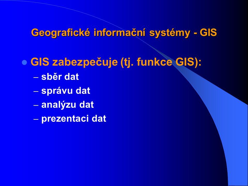 Geografické informační systémy - GIS GIS tvoří: – technické vybavení – programové vybavení – data – lidé, uživatelé