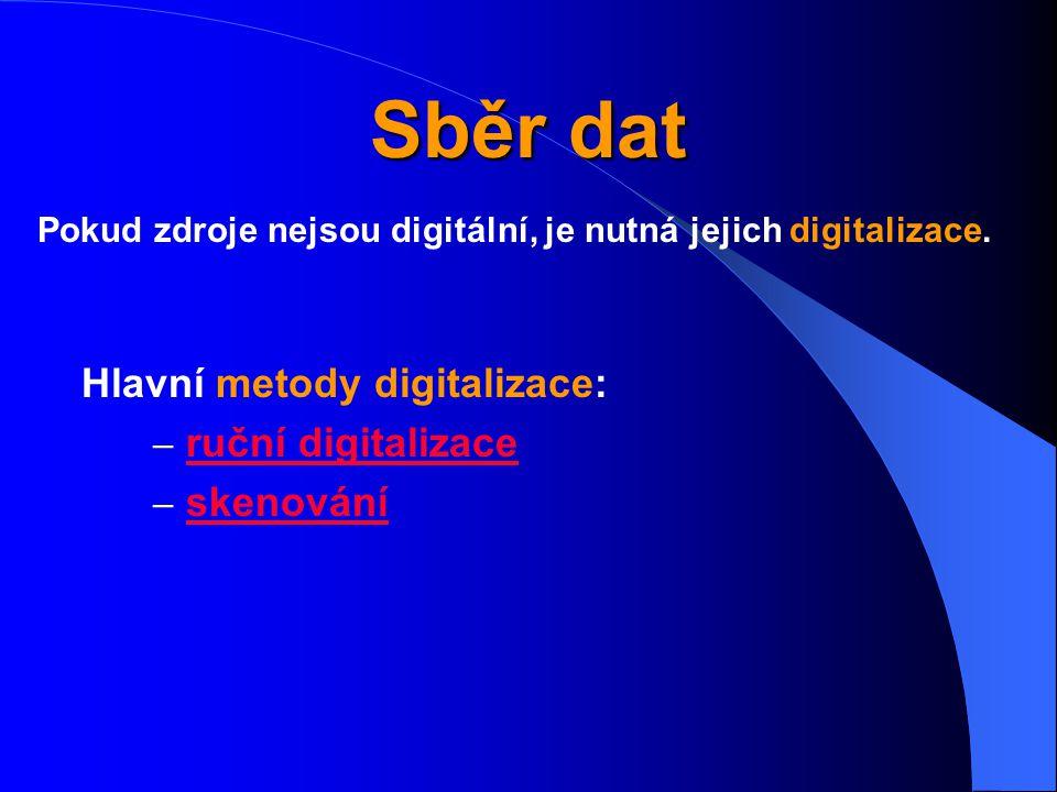 Sběr dat Hlavní metody digitalizace: – ruční digitalizace ruční digitalizace – skenování skenování Pokud zdroje nejsou digitální, je nutná jejich digitalizace.