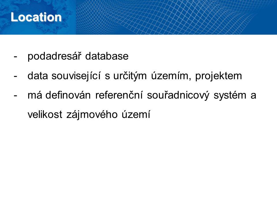 Location -podadresář database -data související s určitým územím, projektem -má definován referenční souřadnicový systém a velikost zájmového území