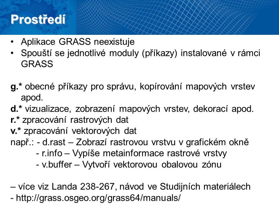 Prostředí Aplikace GRASS neexistuje Spouští se jednotlivé moduly (příkazy) instalované v rámci GRASS g.* obecné příkazy pro správu, kopírování mapových vrstev apod.
