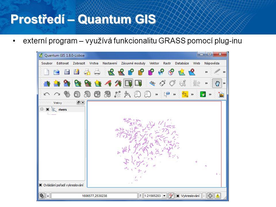 Prostředí – Quantum GIS externí program – využívá funkcionalitu GRASS pomocí plug-inu