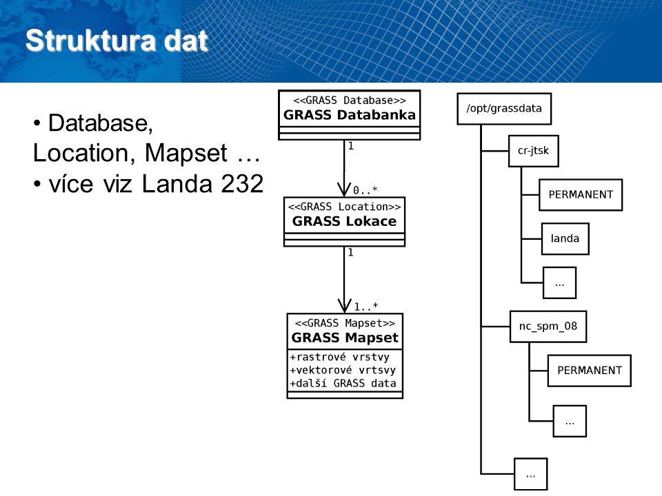 Struktura dat Database, Location, Mapset … více viz Landa 232