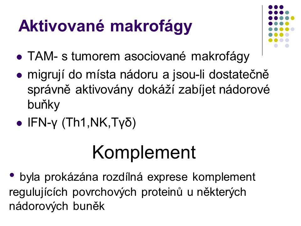 Aktivované makrofágy TAM- s tumorem asociované makrofágy migrují do místa nádoru a jsou-li dostatečně správně aktivovány dokáží zabíjet nádorové buňky IFN-γ (Th1,NK,Tγδ) Komplement byla prokázána rozdílná exprese komplement regulujících povrchových proteinů u některých nádorových buněk