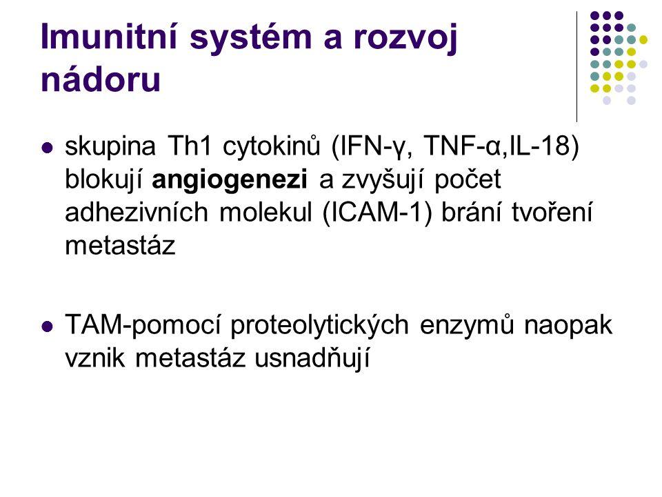Imunitní systém a rozvoj nádoru skupina Th1 cytokinů (IFN-γ, TNF-α,IL-18) blokují angiogenezi a zvyšují počet adhezivních molekul (ICAM-1) brání tvoření metastáz TAM-pomocí proteolytických enzymů naopak vznik metastáz usnadňují