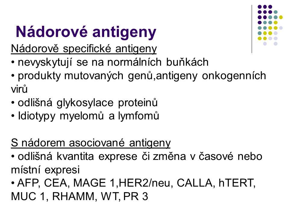Nádorové antigeny Nádorově specifické antigeny nevyskytují se na normálních buňkách produkty mutovaných genů,antigeny onkogenních virů odlišná glykosylace proteinů Idiotypy myelomů a lymfomů S nádorem asociované antigeny odlišná kvantita exprese či změna v časové nebo místní expresi AFP, CEA, MAGE 1,HER2/neu, CALLA, hTERT, MUC 1, RHAMM, WT, PR 3