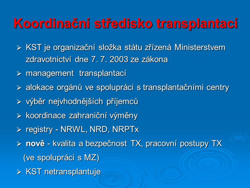 Koordinační středisko transplantací  KST je organizační složka státu zřízená Ministerstvem zdravotnictví dne 7.
