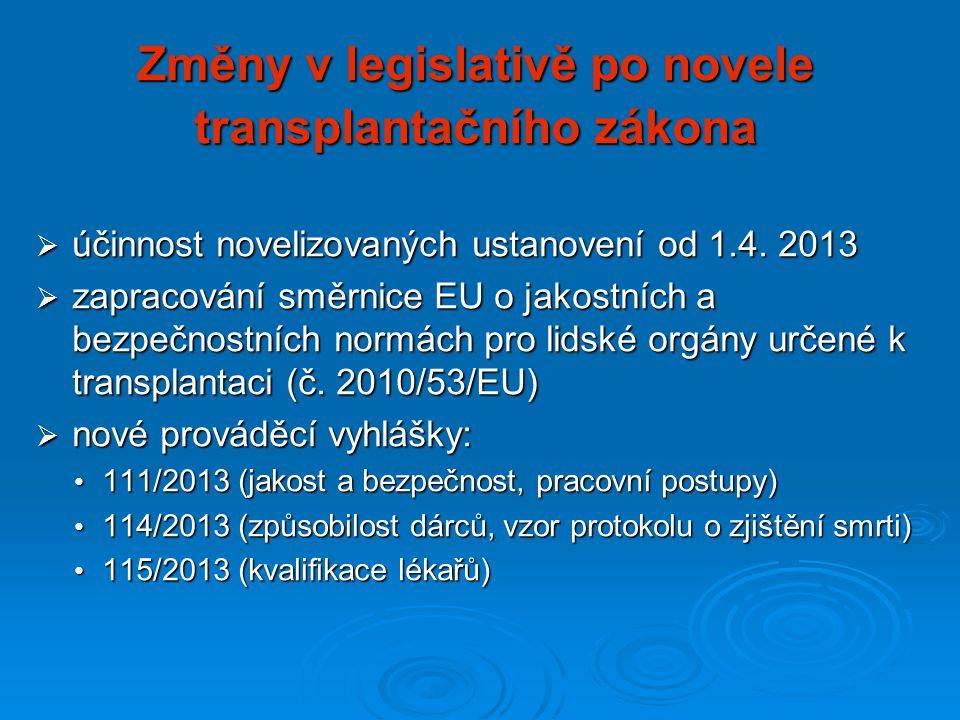 Změny v legislativě po novele transplantačního zákona  účinnost novelizovaných ustanovení od 1.4.
