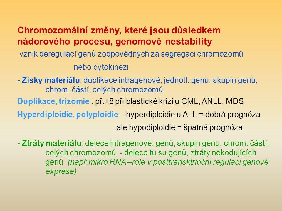 Chromozomální změny, které jsou důsledkem nádorového procesu, genomové nestability vznik deregulací genů zodpovědných za segregaci chromozomů nebo cytokinezi - Zisky materiálu: duplikace intragenové, jednotl.