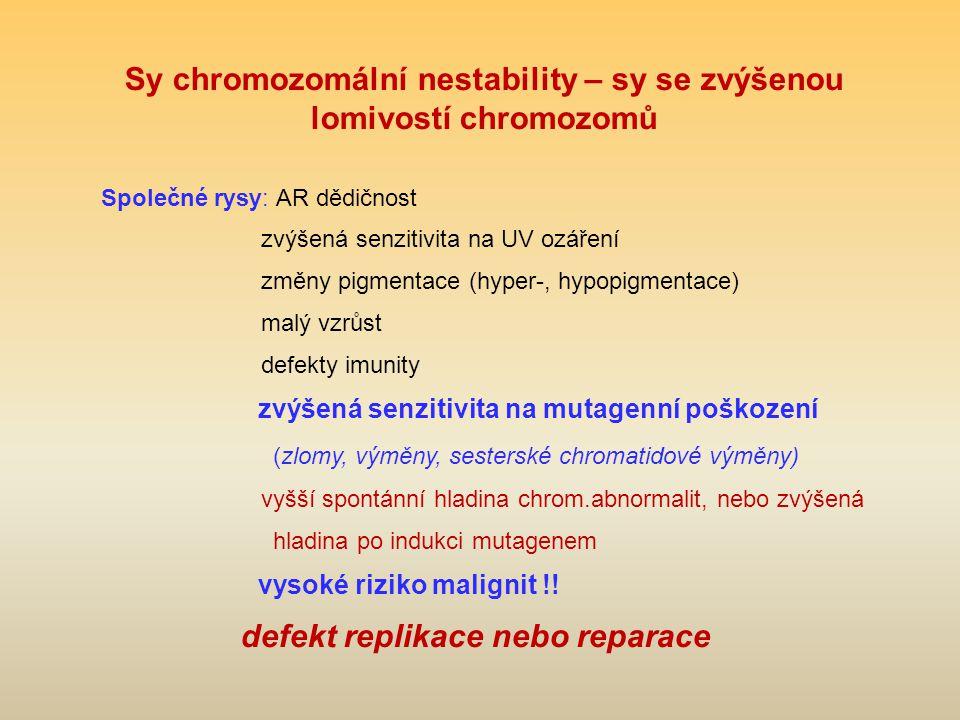 Sy chromozomální nestability – sy se zvýšenou lomivostí chromozomů Společné rysy: AR dědičnost zvýšená senzitivita na UV ozáření změny pigmentace (hyper-, hypopigmentace) malý vzrůst defekty imunity zvýšená senzitivita na mutagenní poškození (zlomy, výměny, sesterské chromatidové výměny) vyšší spontánní hladina chrom.abnormalit, nebo zvýšená hladina po indukci mutagenem vysoké riziko malignit !.