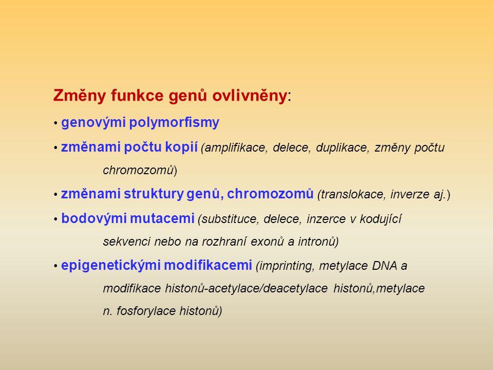 Změny funkce genů ovlivněny: genovými polymorfismy změnami počtu kopií (amplifikace, delece, duplikace, změny počtu chromozomů) změnami struktury genů, chromozomů (translokace, inverze aj.) bodovými mutacemi (substituce, delece, inzerce v kodující sekvenci nebo na rozhraní exonů a intronů) epigenetickými modifikacemi (imprinting, metylace DNA a modifikace histonů-acetylace/deacetylace histonů,metylace n.