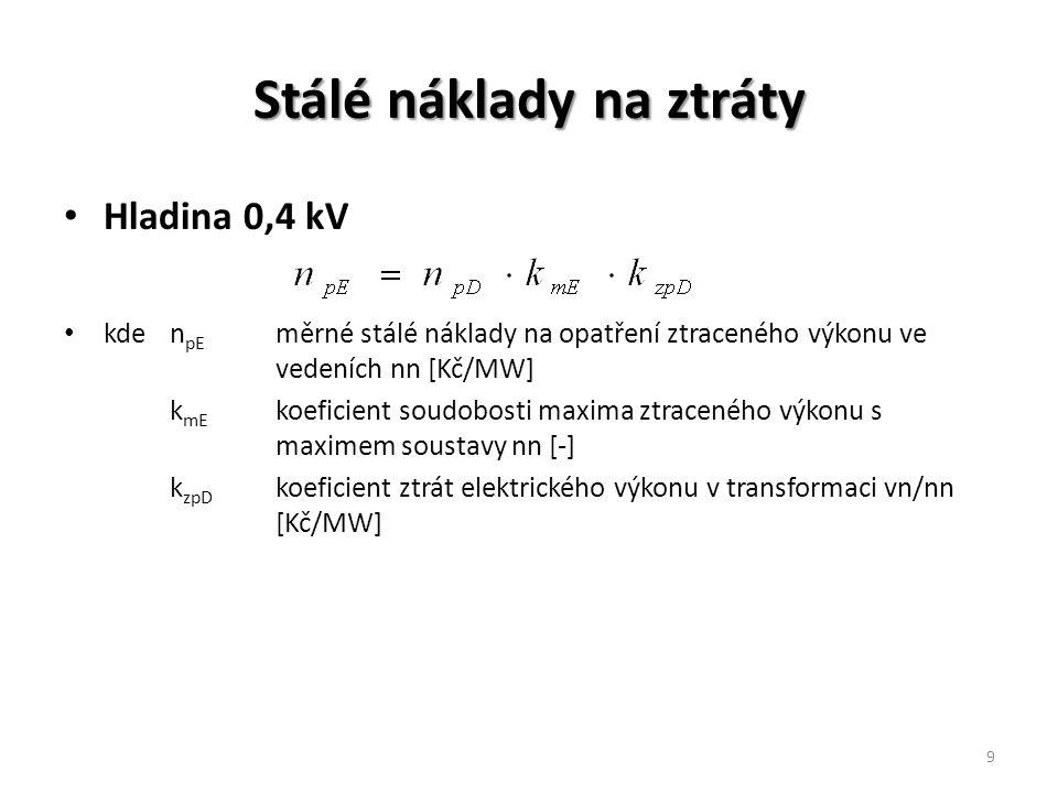 Stálé náklady na ztráty Hladina 0,4 kV kden pE měrné stálé náklady na opatření ztraceného výkonu ve vedeních nn [Kč/MW] k mE koeficient soudobosti maxima ztraceného výkonu s maximem soustavy nn [-] k zpD koeficient ztrát elektrického výkonu v transformaci vn/nn [Kč/MW] 9