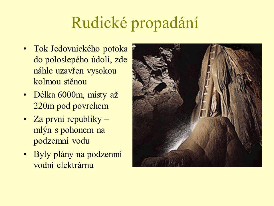 Rudické propadání Tok Jedovnického potoka do poloslepého údolí, zde náhle uzavřen vysokou kolmou stěnou Délka 6000m, místy až 220m pod povrchem Za prv
