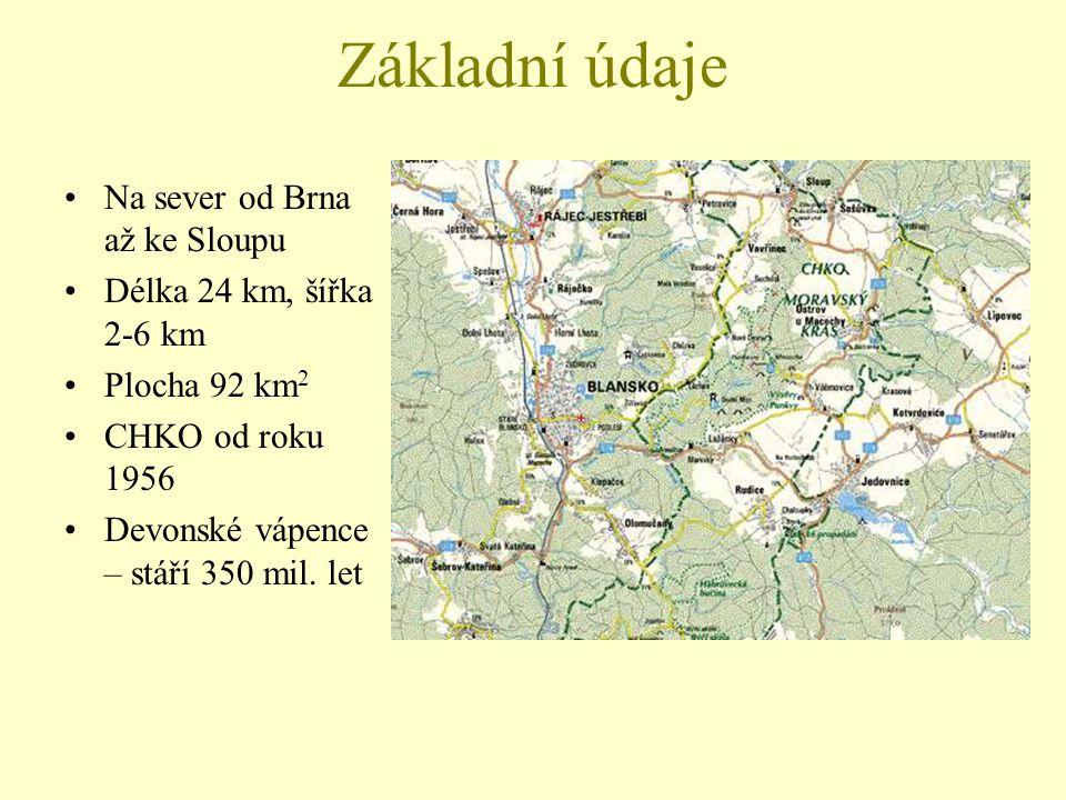Základní údaje Na sever od Brna až ke Sloupu Délka 24 km, šířka 2-6 km Plocha 92 km 2 CHKO od roku 1956 Devonské vápence – stáří 350 mil. let