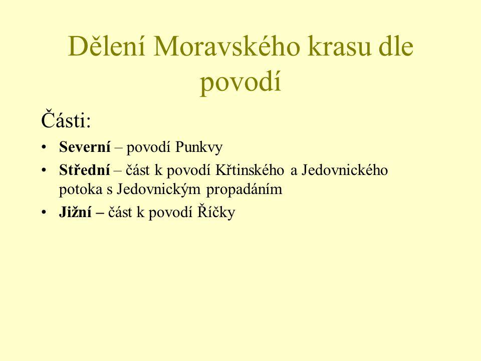 Dělení Moravského krasu dle povodí Části: Severní – povodí Punkvy Střední – část k povodí Křtinského a Jedovnického potoka s Jedovnickým propadáním Ji