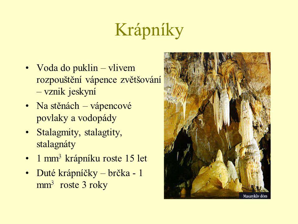 Krápníky Voda do puklin – vlivem rozpouštění vápence zvětšování – vznik jeskyní Na stěnách – vápencové povlaky a vodopády Stalagmity, stalagtity, stal