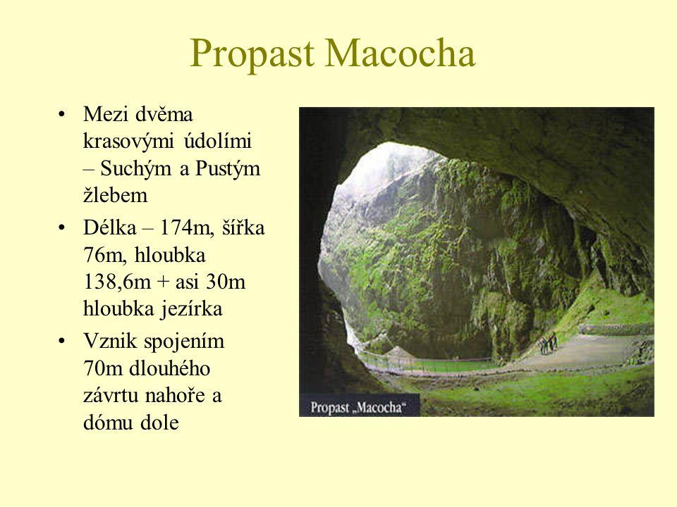 Propast Macocha Mezi dvěma krasovými údolími – Suchým a Pustým žlebem Délka – 174m, šířka 76m, hloubka 138,6m + asi 30m hloubka jezírka Vznik spojením
