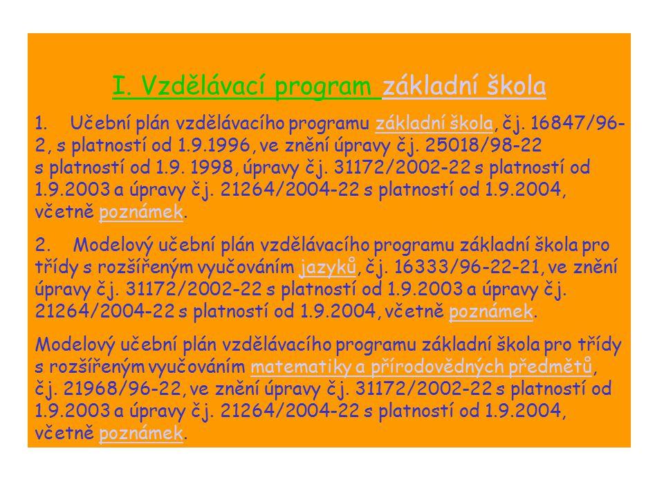 Souhrn I. Vzdělávací program základní školazákladní škola 1. Učební plán vzdělávacího programu základní škola, čj. 16847/96- 2, s platností od 1.9.199