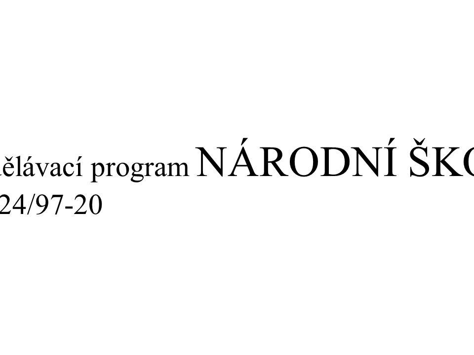 III. Vzdělávací program NÁRODNÍ ŠKOLA, čj. 15724/97-20
