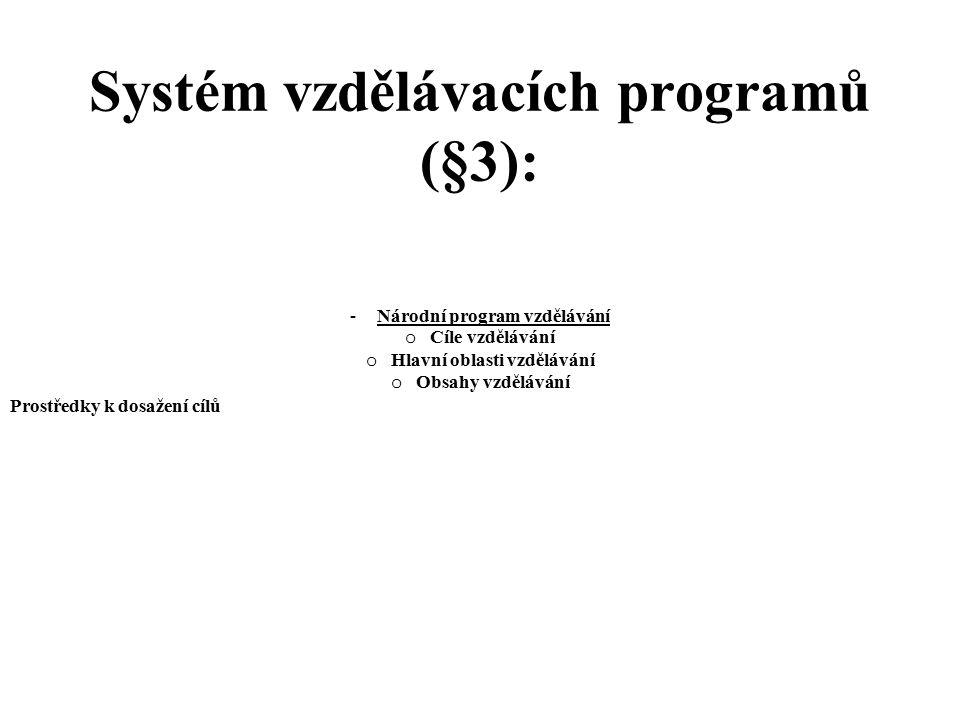 Systém vzdělávacích programů (§3): - Národní program vzdělávání o Cíle vzdělávání o Hlavní oblasti vzdělávání o Obsahy vzdělávání Prostředky k dosažen