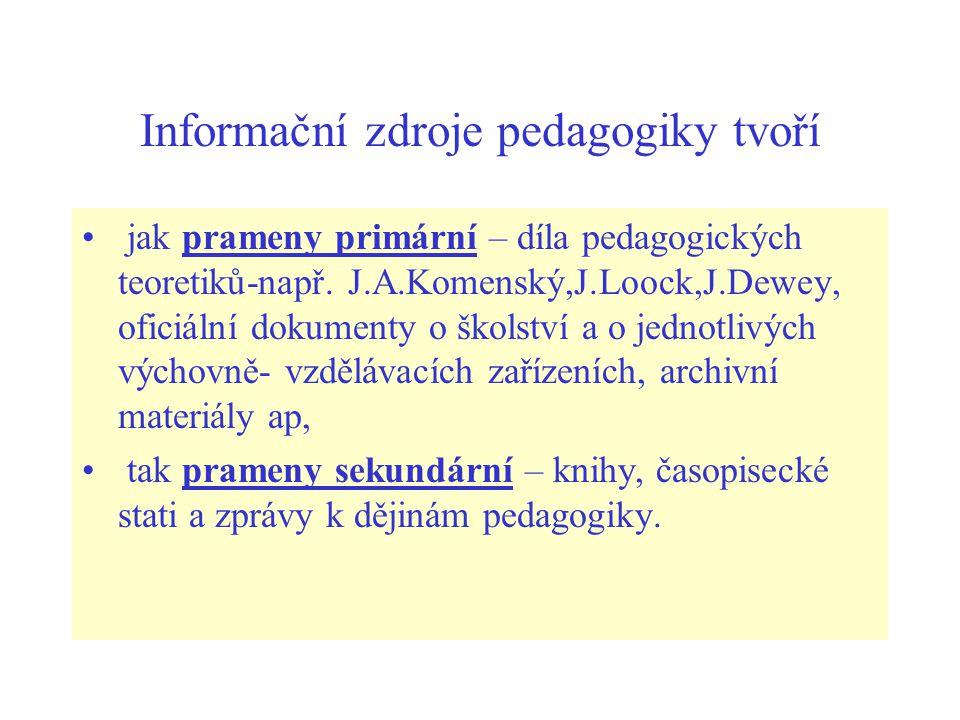 Informační zdroje pedagogiky tvoří jak prameny primární – díla pedagogických teoretiků-např. J.A.Komenský,J.Loock,J.Dewey, oficiální dokumenty o škols