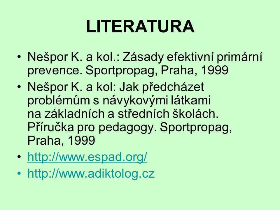 LITERATURA Nešpor K.a kol.: Zásady efektivní primární prevence.