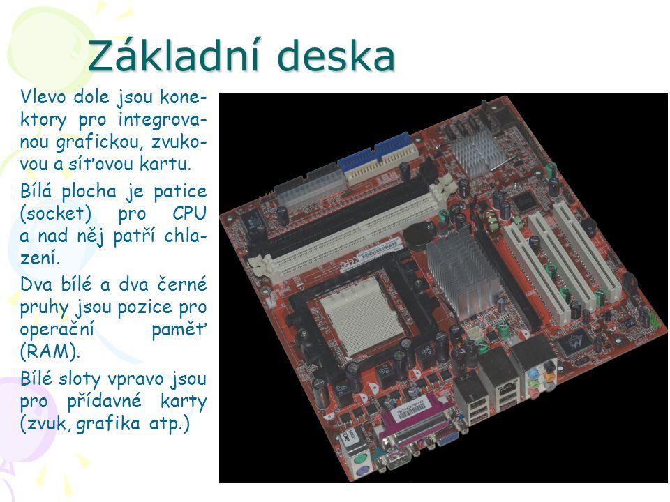 Základní deska Vlevo dole jsou kone- ktory pro integrova- nou grafickou, zvuko- vou a síťovou kartu. Bílá plocha je patice (socket) pro CPU a nad něj