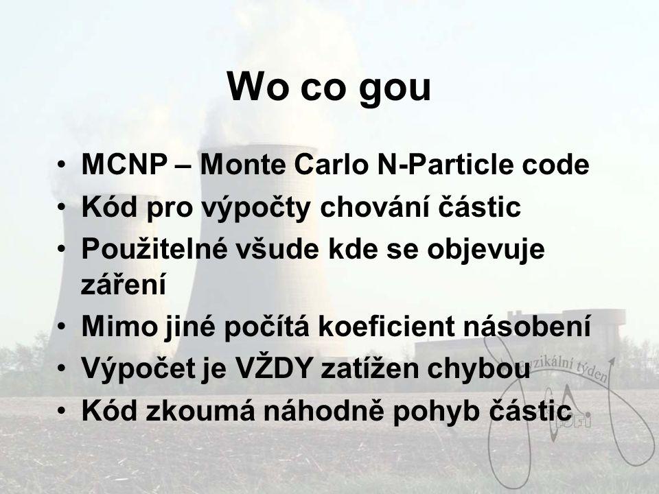 Wo co gou MCNP – Monte Carlo N-Particle code Kód pro výpočty chování částic Použitelné všude kde se objevuje záření Mimo jiné počítá koeficient násobení Výpočet je VŽDY zatížen chybou Kód zkoumá náhodně pohyb částic