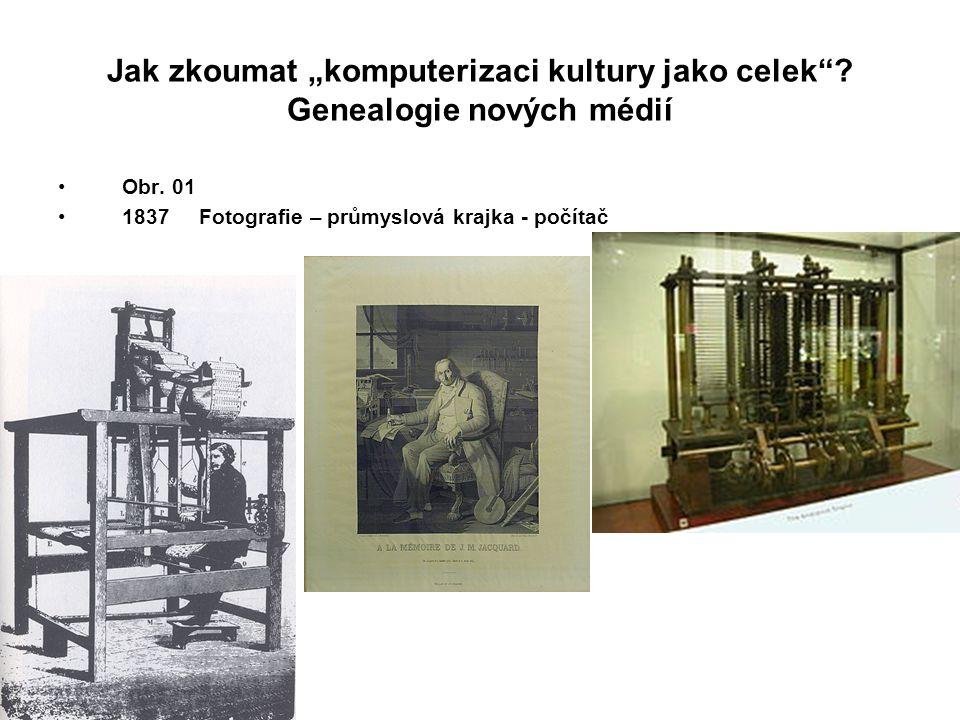 """Jak zkoumat """"komputerizaci kultury jako celek""""? Genealogie nových médií Obr. 01 1837 Fotografie – průmyslová krajka - počítač"""